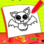 Easy Kids Coloring Bat